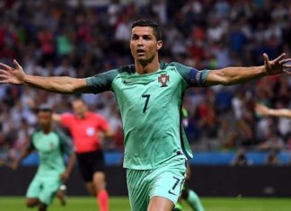 Ronaldo celebrates goal for his national team
