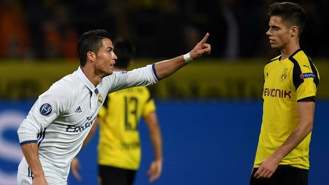 Ronaldo celebrates goal against Borussia Dortmund