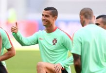 Cristiano Ronaldo trains with Portugal team