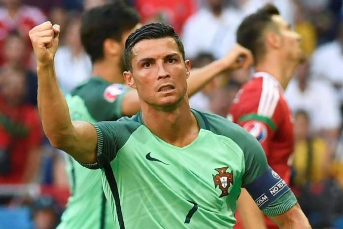 Cristiano Ronaldo celebrates goal for Portugal in World Cup Qualifier