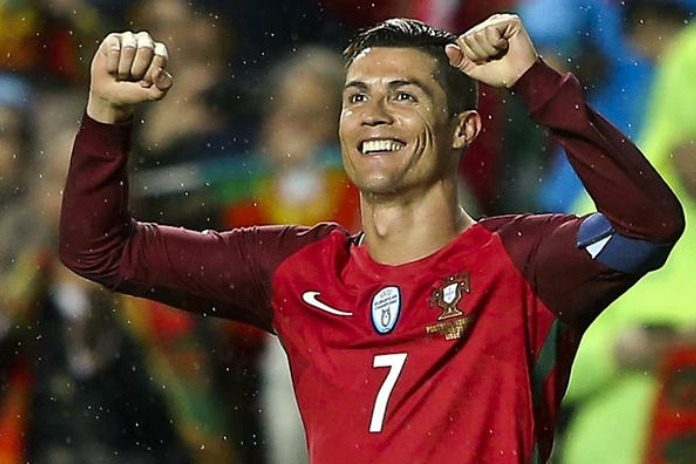 Ronaldo celebrating a goal for Portugal