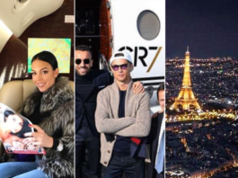 Georgina Rodriguez, Cristiano Ronaldo and friends jetting off to Paris and the Eiffel Tower via CR7 Private Jet for the announcement of the 2017 Ballon d'Or award.