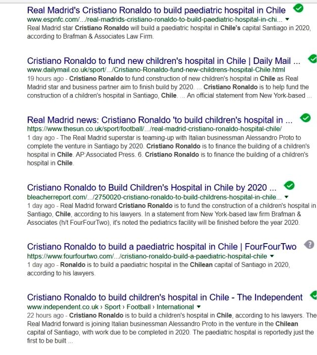 Fake news about Ronaldo building hospital in Chile
