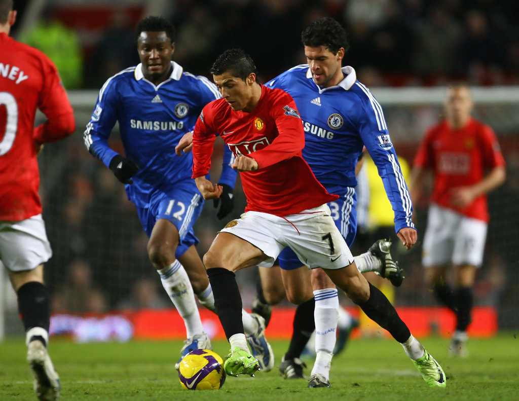 Cristiano Ronaldo in action for Manchester United in the EPL against Chelsea in 2008