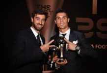 Cristiano Ronaldo and Miguel Paixao at the awards ceremony