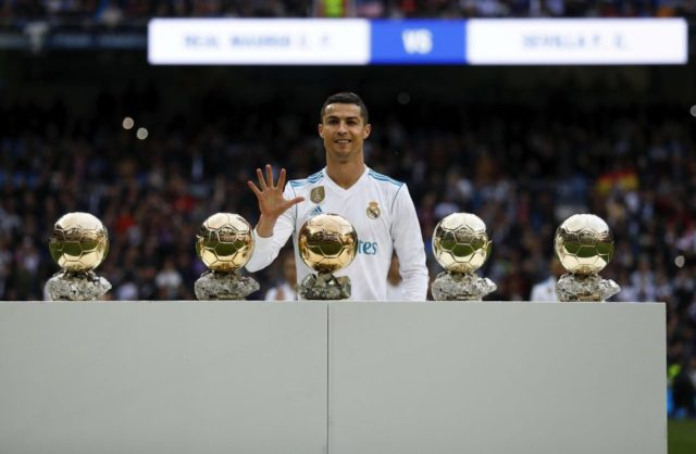 Cristiano Ronaldo has five Ballon dors