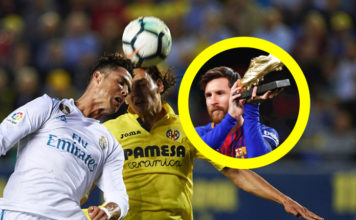 Ronaldo beats Lionel Messi's Pichichi goals ratio; Cristiano Ronaldo header vs Villarreal. Messi lifts Golden Boot award