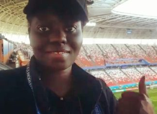 Angela Akua Asante inside the Mordova Arena