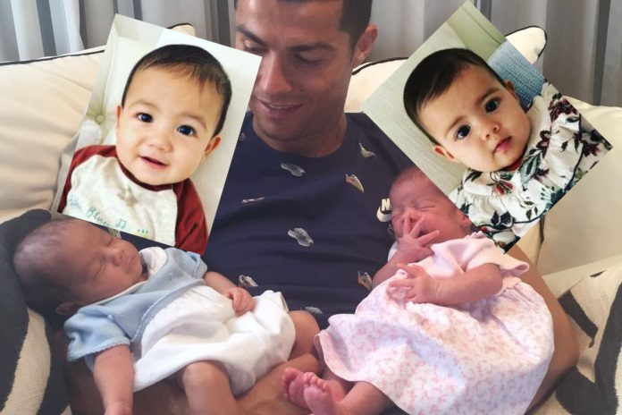 Cristiano Ronaldo, Mateo and Eva. Father with twin babies.