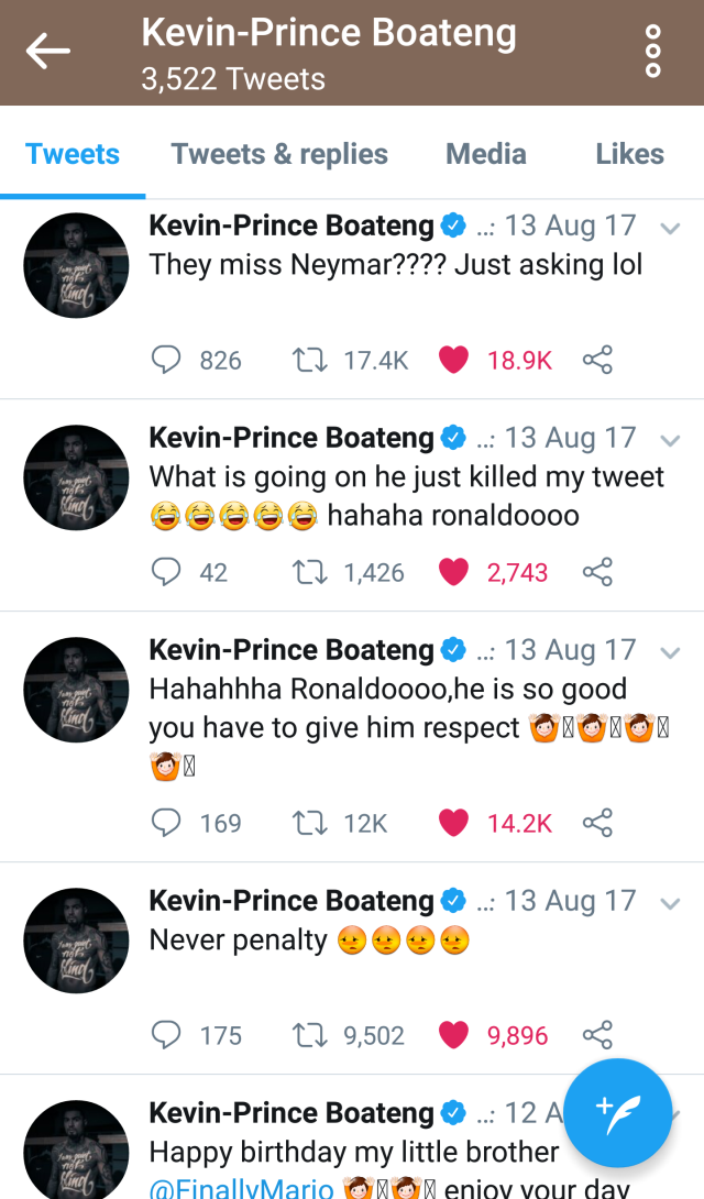 Kevin Prince Boateng Cristiano Ronaldo tweets history in full